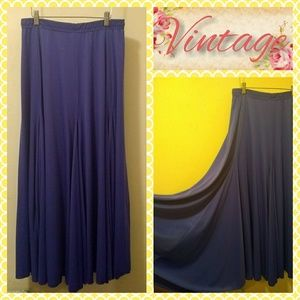 VTG 80s Purple Stretch Poly Maxi/Circle Skirt M-XL